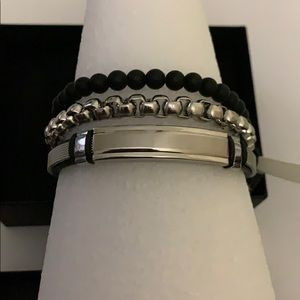 Anthony Jacobs 3-Piece Stainless Steel Bracelet
